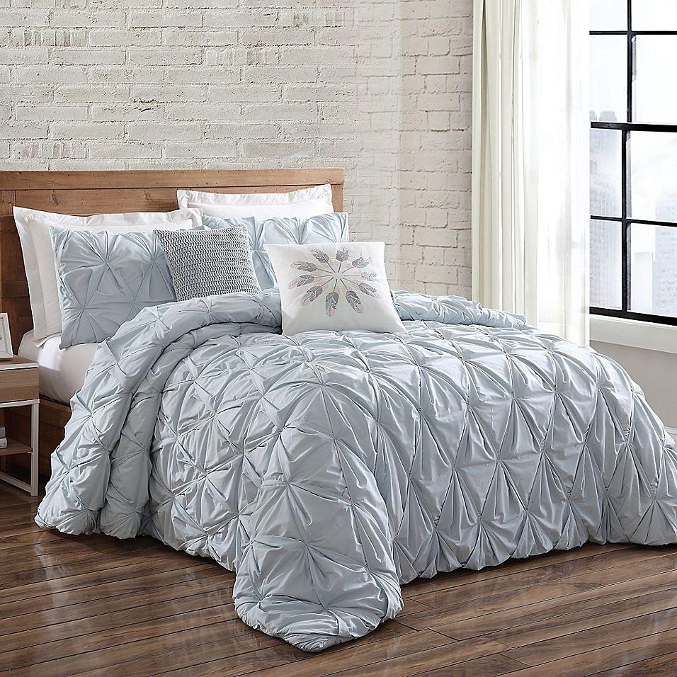 Brooklyn Loom Jackson Pleat Twin Xl Comforter Set In Spa