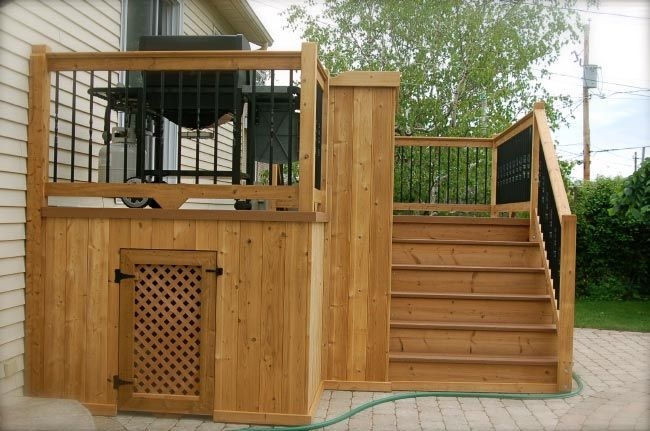 multi level pool deck - storage for cushions and pool chemicals