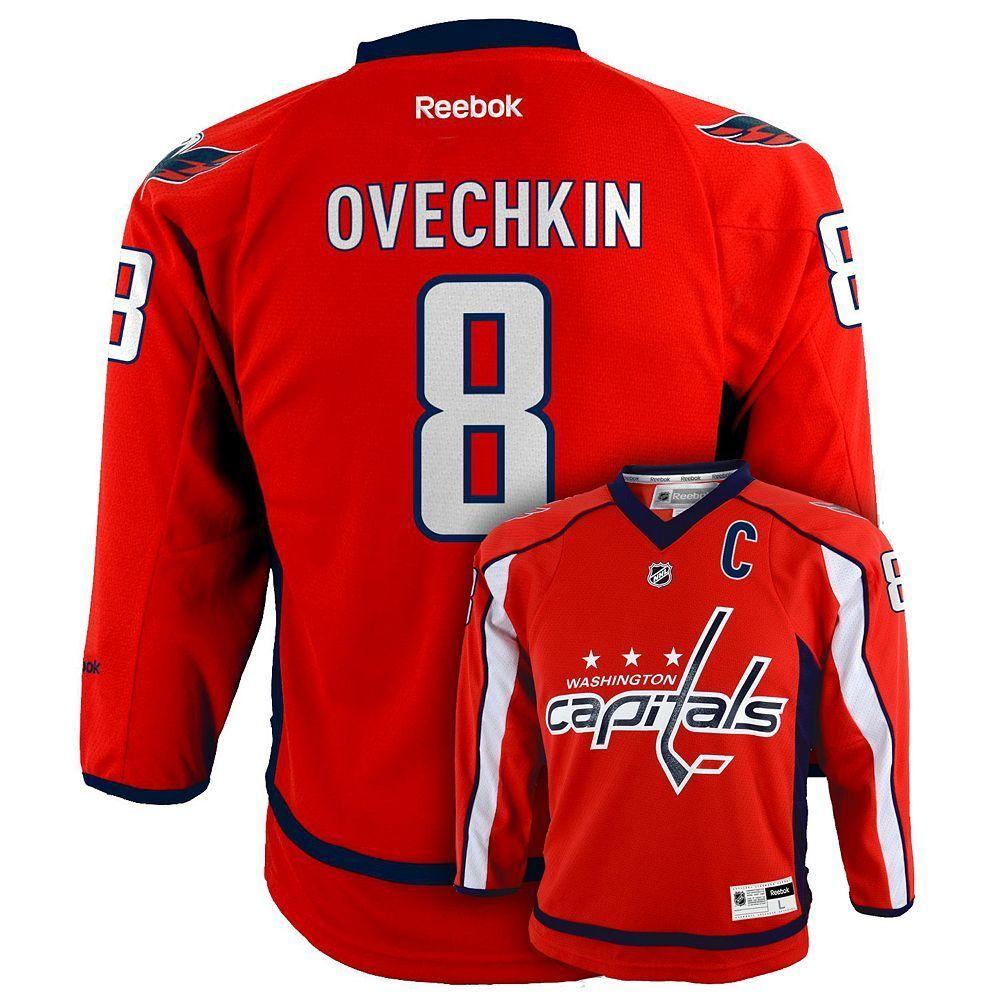 Boys 8-20 Reebok Washington Capitals Alex Ovechkin NHL Replica Jersey 7e7746a3c