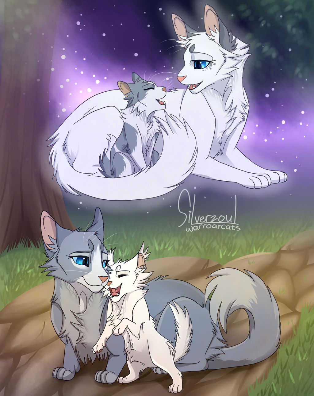 Snowfur Taking Care Of Bluefur Star Kit Mosskit In Starclan And