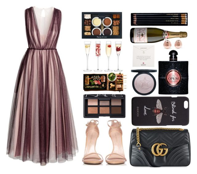"""""""Dress"""" by marias1808 ❤ liked on Polyvore featuring H&M, Stuart Weitzman, Gucci, Yves Saint Laurent, NARS Cosmetics, Dogeared, LSA International, Monica Vinader and Sloane Stationery"""
