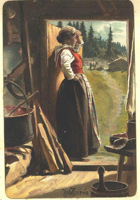 Ysting på setra. Budeia ser etter folk. Sign Joh Zirèn. stempel | by Osterøy Museum