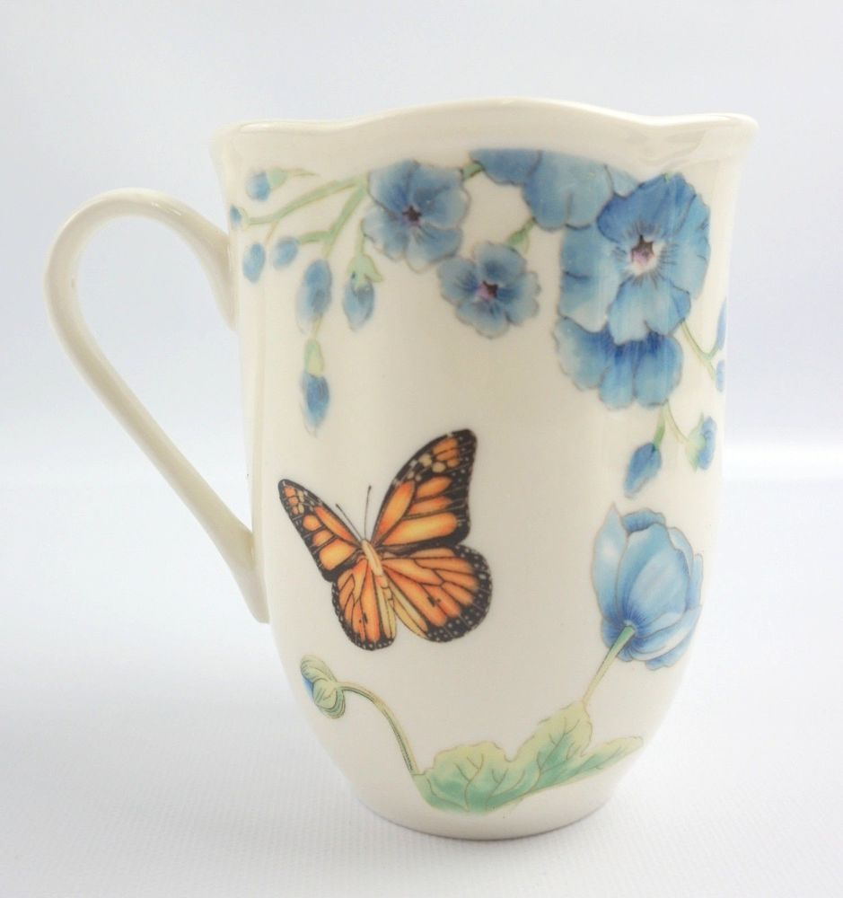 Lenox Erfly Meadow Blue Coffee Mug Cup American By Design Scalloped Erflymeadow