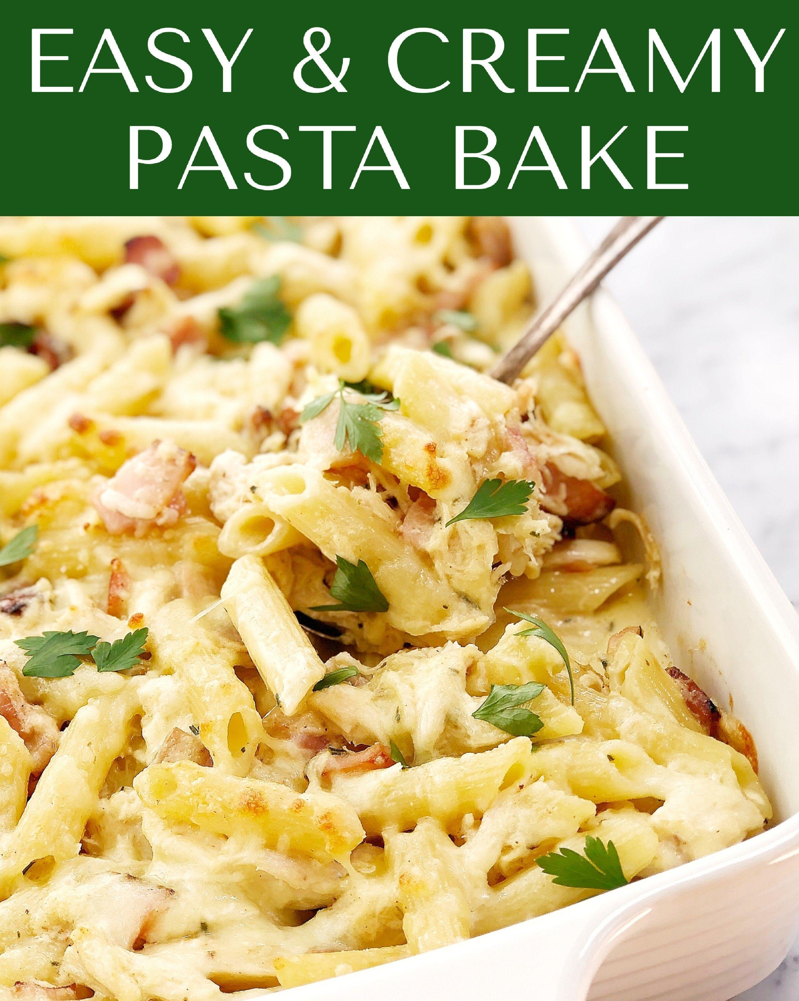 Easy Creamy Chicken Pasta Bake Chef Not Required Recipe Creamy Chicken Pasta Leftovers Recipes Chicken Pasta Bake