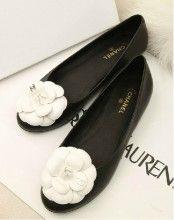 907f00fea4aa Chanel Black Leather Camellia Flower Flats Shoes - Ellst...... Black n White