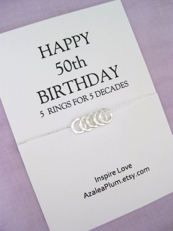 Sterling Silver 50th Birthday Necklace 50th Birthday Gifts For