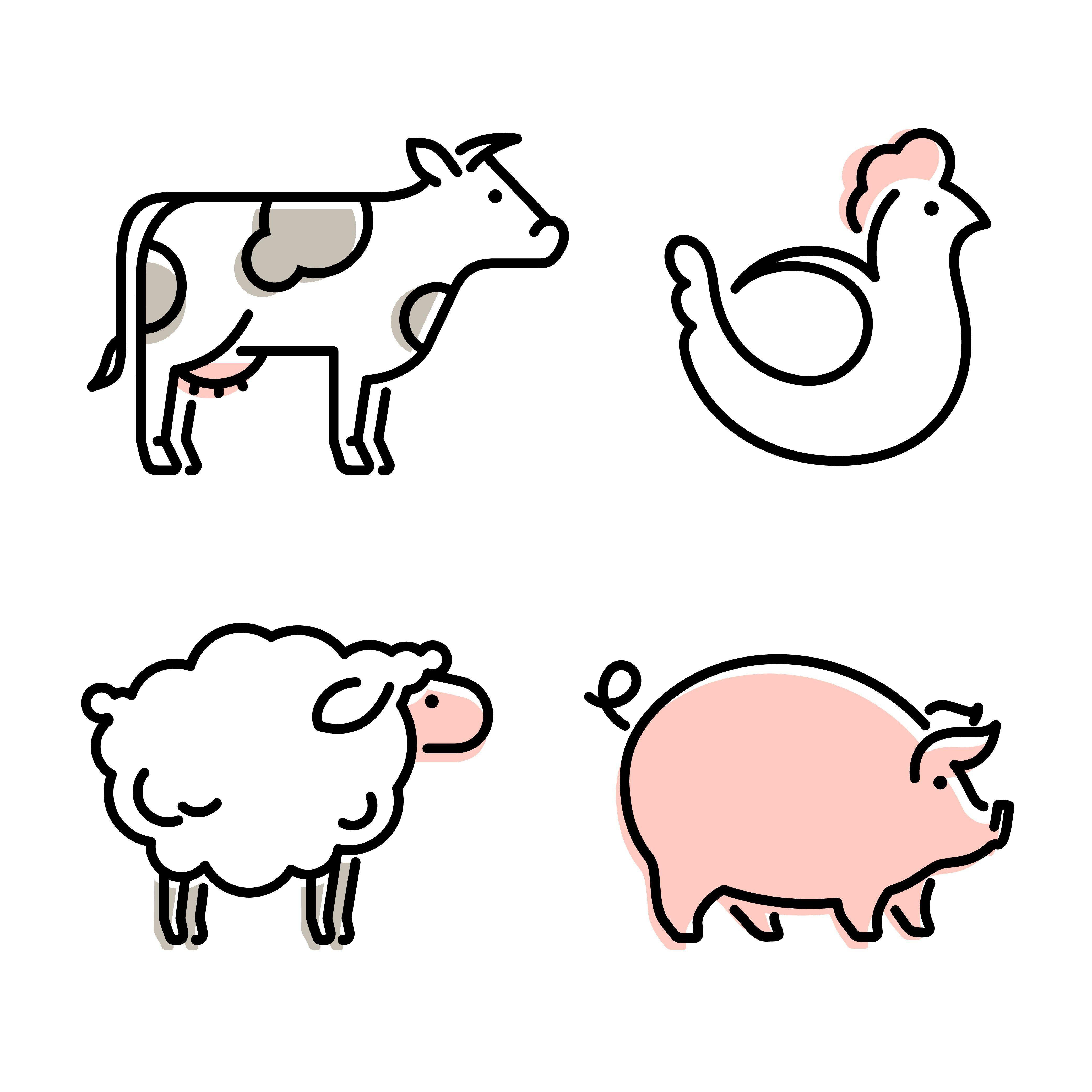 Farm Animals Vector Icon Sheep Cow Stock Vector Royalty Free 1513726466 Sheep Illustration Animal Icon Cow Illustration