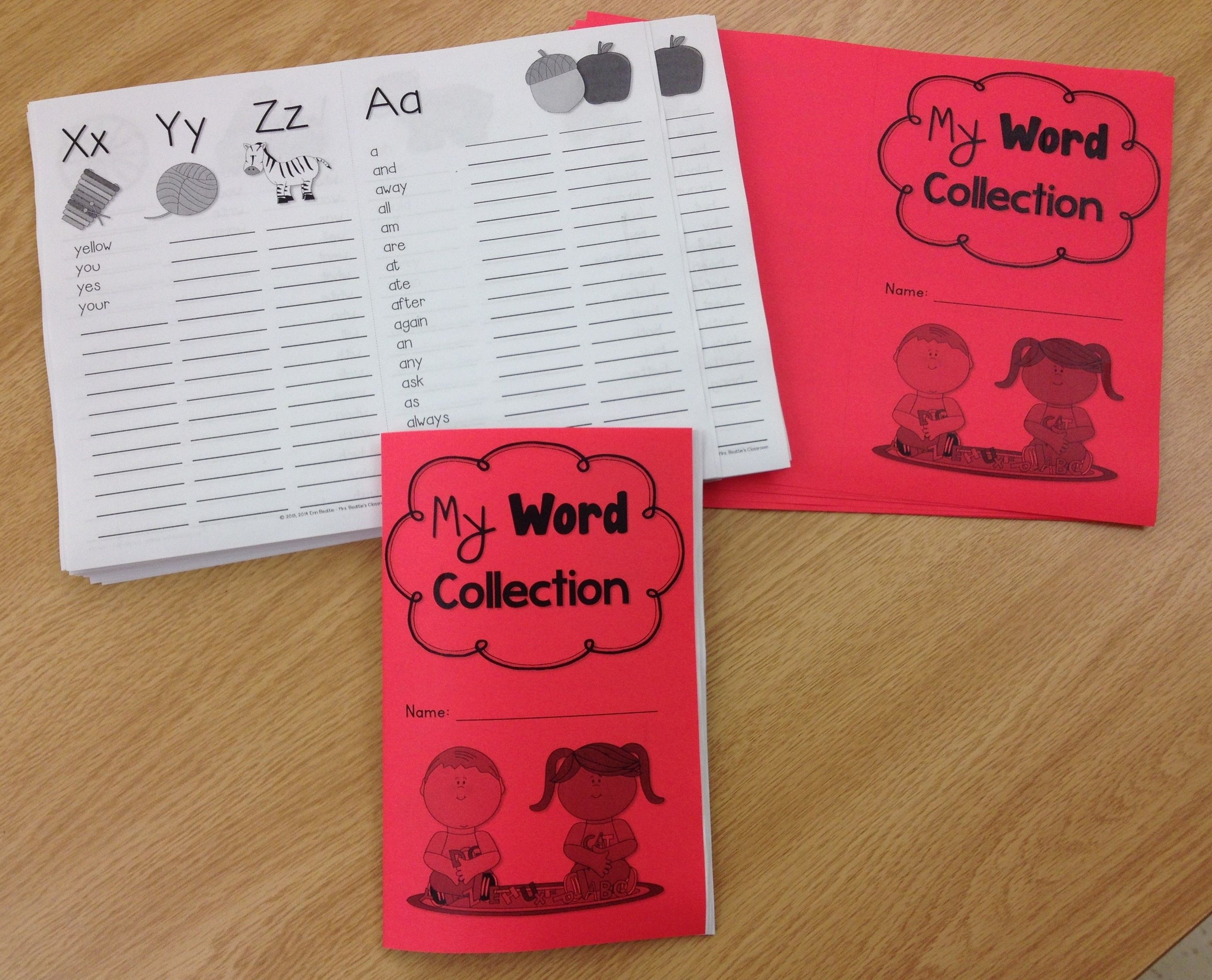 My Word Collection - A Personal Word Book Dictionary For Primary Students from Mrs. Beattie's Classroom. The Word Collection booklet contains all of the Dolch words from the pre-primer to third grade lists, as well as a separate page of number words.