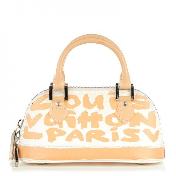 ecaae950fc9c This is an authentic LOUIS VUITTON Graffiti Alma PM in Peach. This chic tote  is crafted of leather with peach graffiti Louis Vuitton print on white.