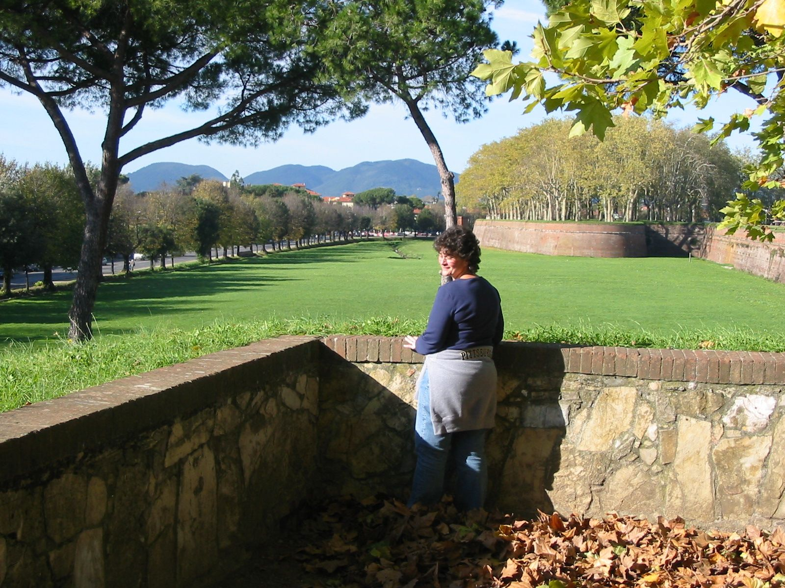me in lucca...a little rest after walking the wall around the town.