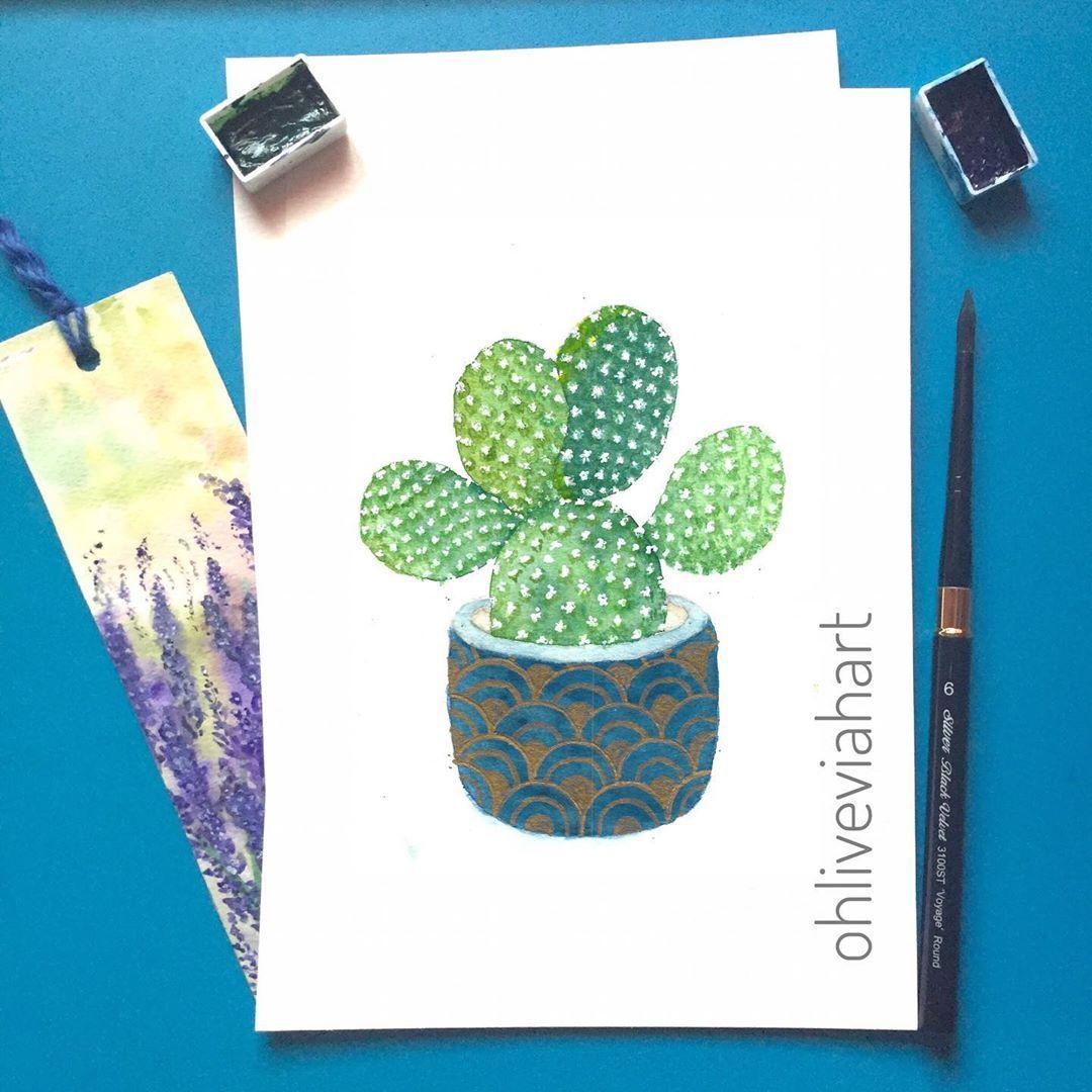 """Olivia Malto on Instagram: """"Day 87/100 Bunny cactus  #watercolorillustration #watercolorcactus #modernwatercolor #everydaywatercolor #watercolordaily…"""""""