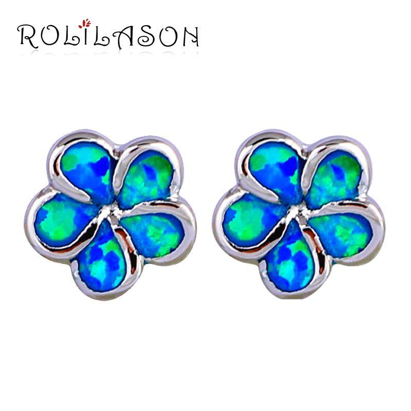 Trendy stijl keizerskroon oorbellen Blue Fire Opal Zilveren Gevuld Groothandel & Retail Mode-sieraden Oorknopjes OE566