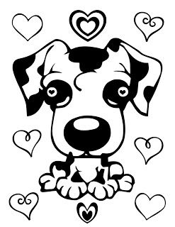 Cute Puppy And Hearts Coloring Page Puppy Coloring Pages Heart