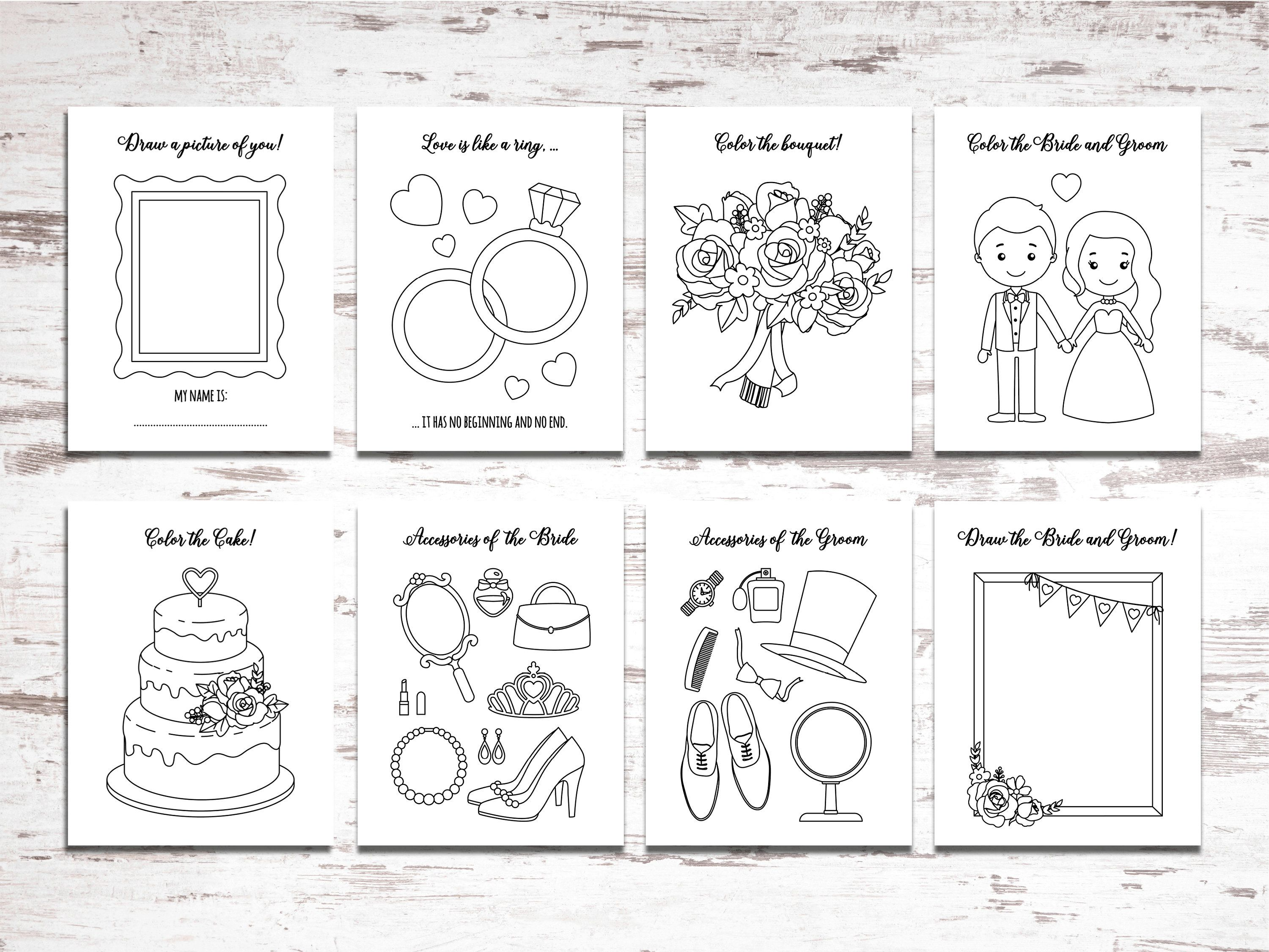 Printable Wedding Activity and Coloring Book Instant