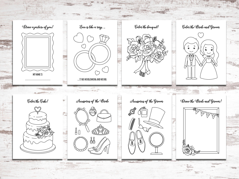 Printable Wedding Activity And Coloring Book Kids Table Sheets Printable Download Wedding Favors Reception Activities For Kids Wedding Printables Wedding Activities Kids Wedding Activities