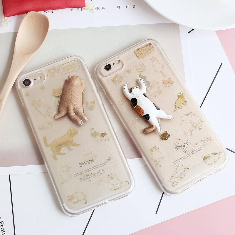 SPARKLY TRANSPARENT CUTE CATS IPHONE COVER CASE