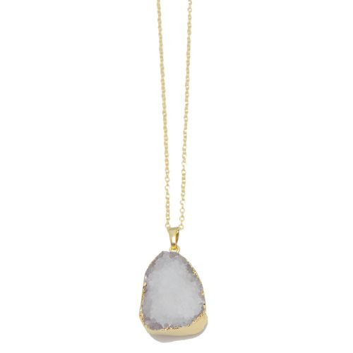 Gold Dipped White Druzy Pendant Necklace