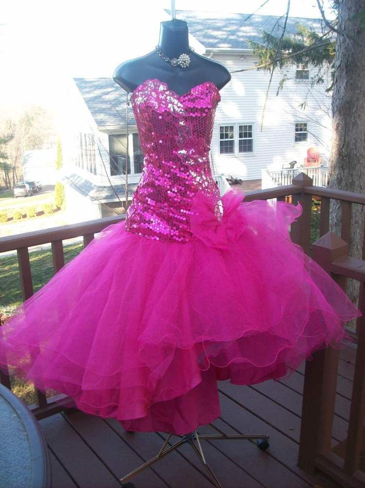 37a965a7906 VINTAGE 80s HOT PINK BEST IN SHOW PROM PARTY DRESS S