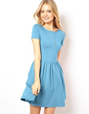 bf3dd7a6feec ASOS Skater Dress With Slash Neck And Short Sleeves