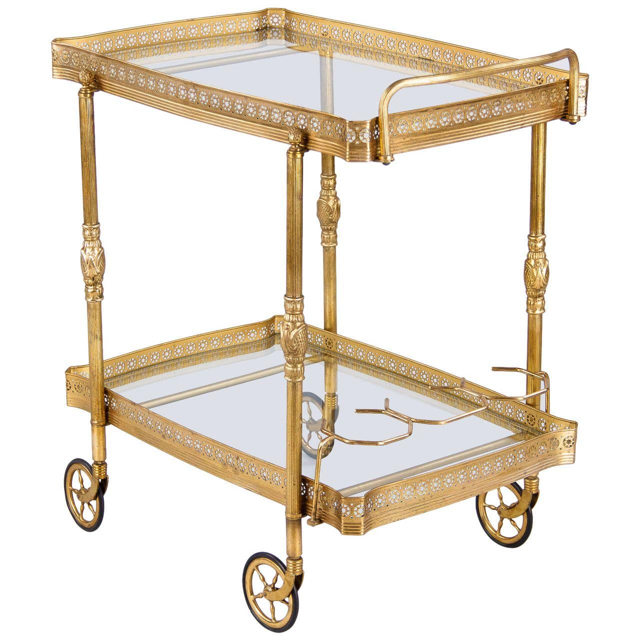 Mid Century French Brass Bar Cart At 1stdibs Brass Bar Cart Mid Century Bar Cart French Brass Antique brass bar cart