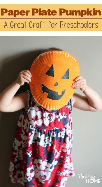 Paper plate pumpkin halloween craft Easy Halloween craft that - halloween crafts ideas