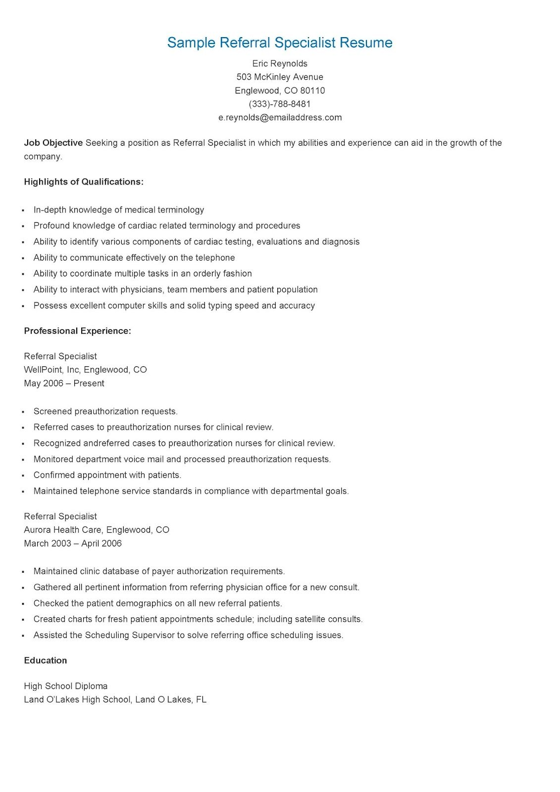 sample referral specialist resume