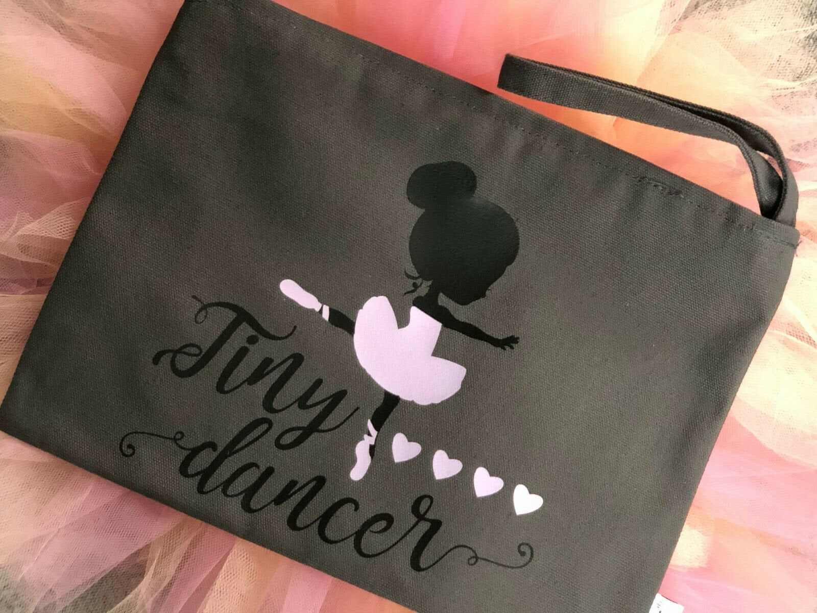 Tiny Dancer Ballet Bag Pouch Gray Cotton Canvas Lined