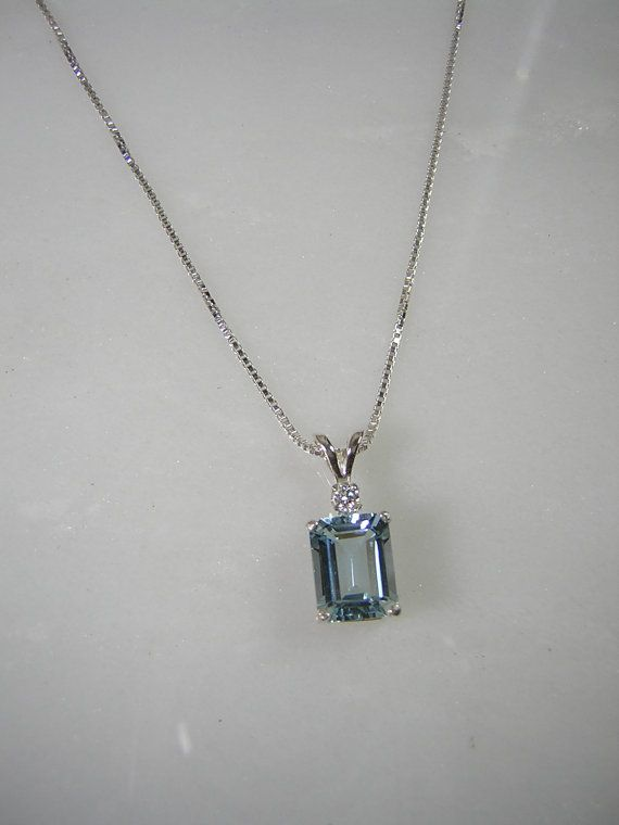 Aquamarine Diamond Accent Pendant Sterling by RLGemstoneElegance, $95.00