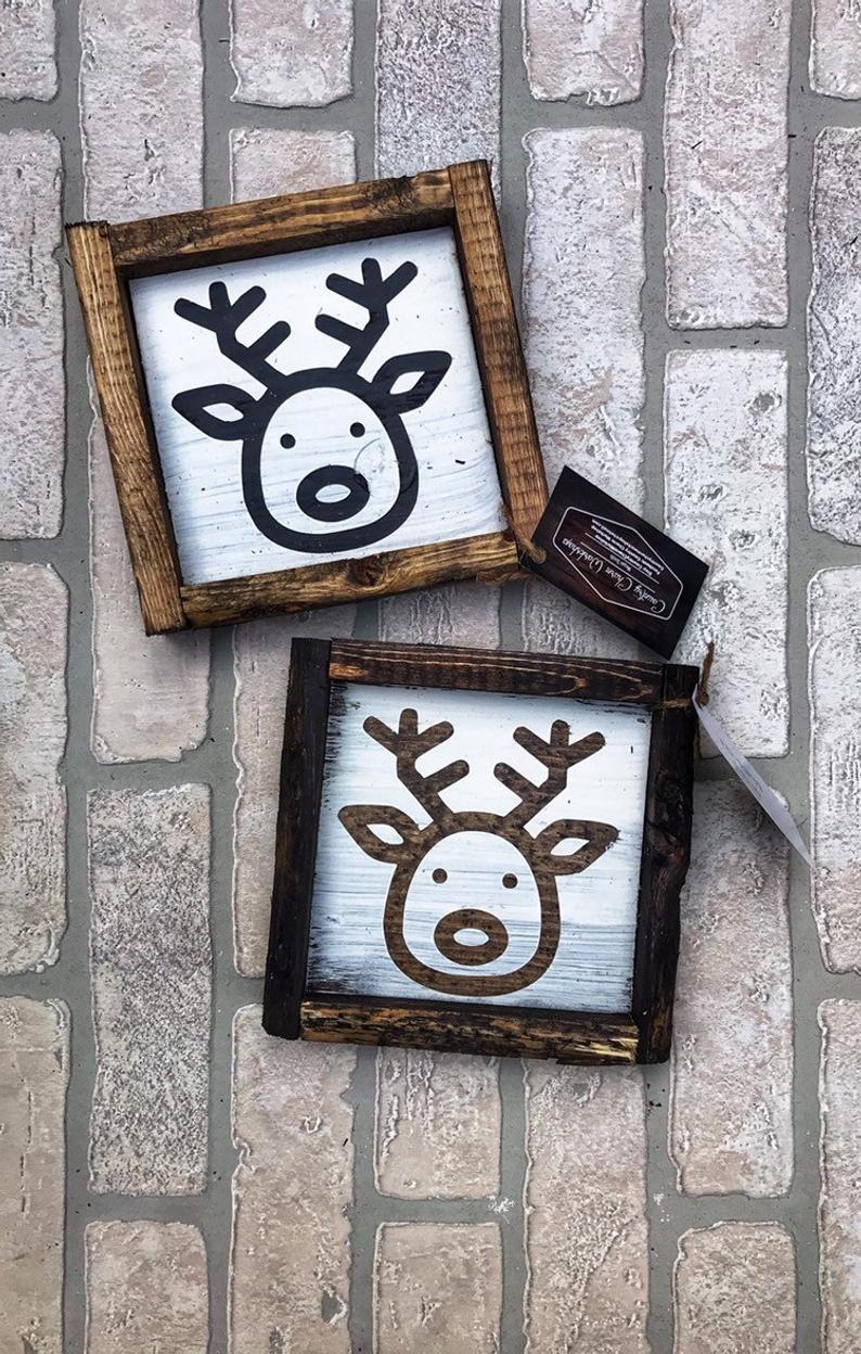 Kitchen Design 11x13 Room: Reindeer Outline Drawing Christmas Sign