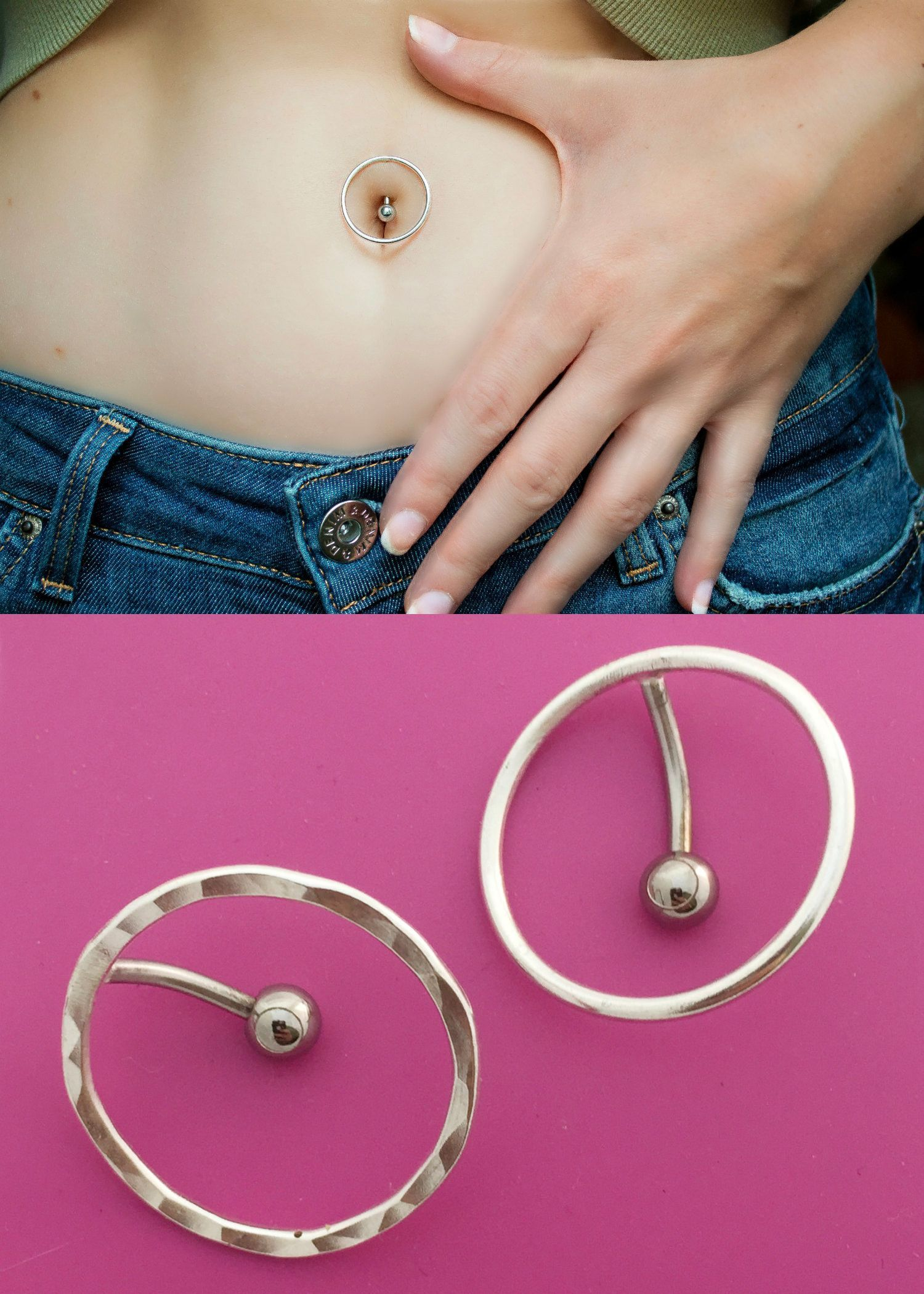 Double piercing belly  Top Down Circle Belly Button Ring  Tres Alternative  Pinterest