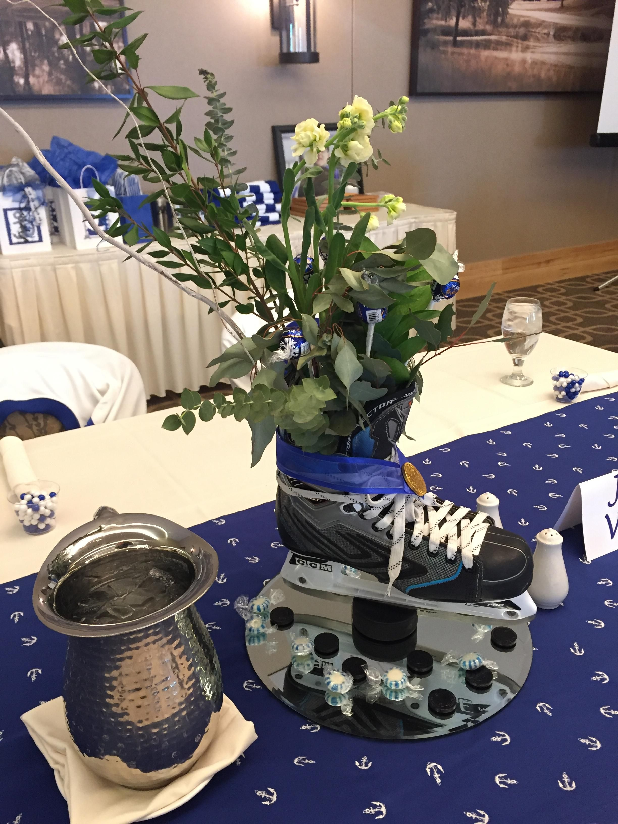 Hazeltine sports banquet centerpieces hockey