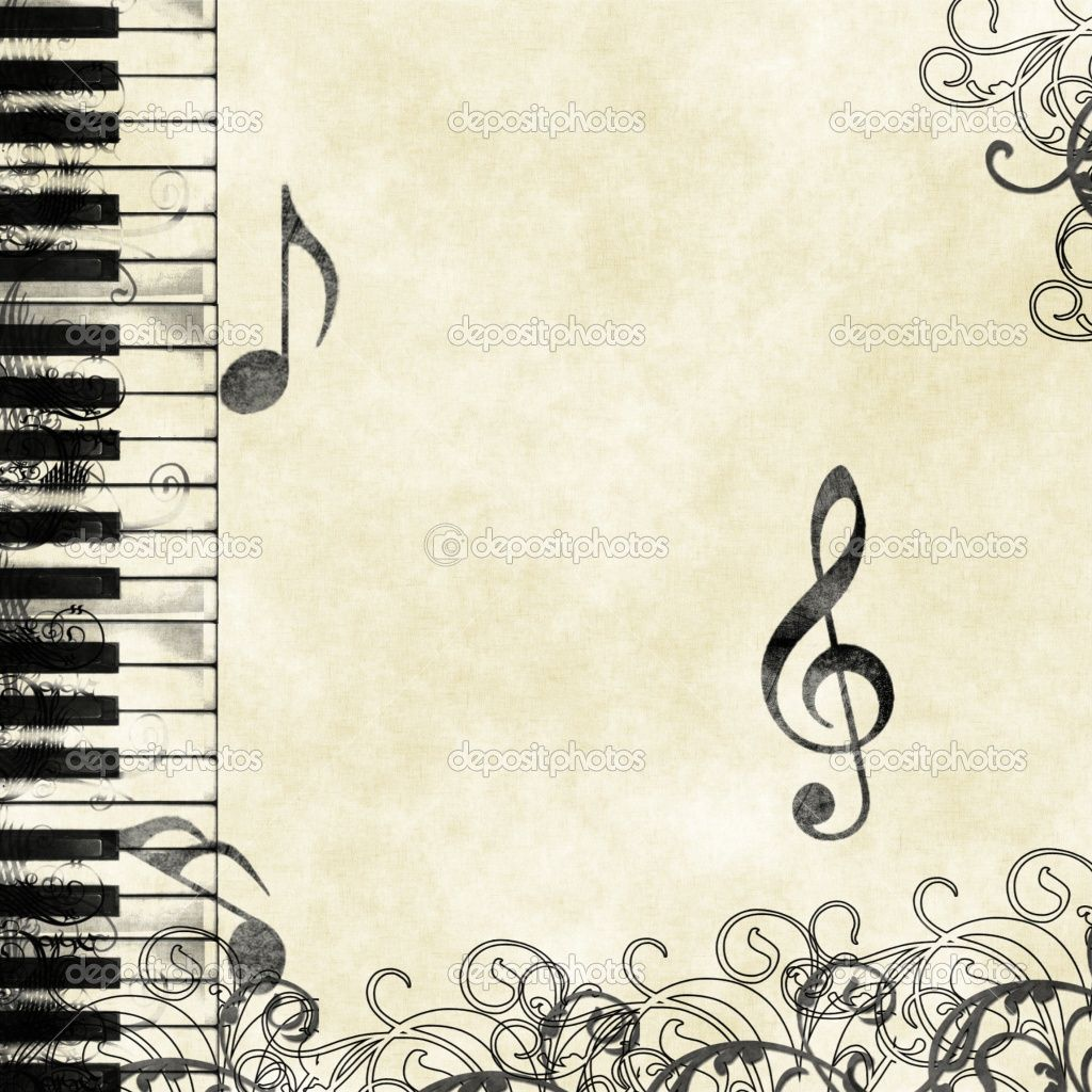 Music Scrapbook Paper Grunge Floral Musical Background Stock