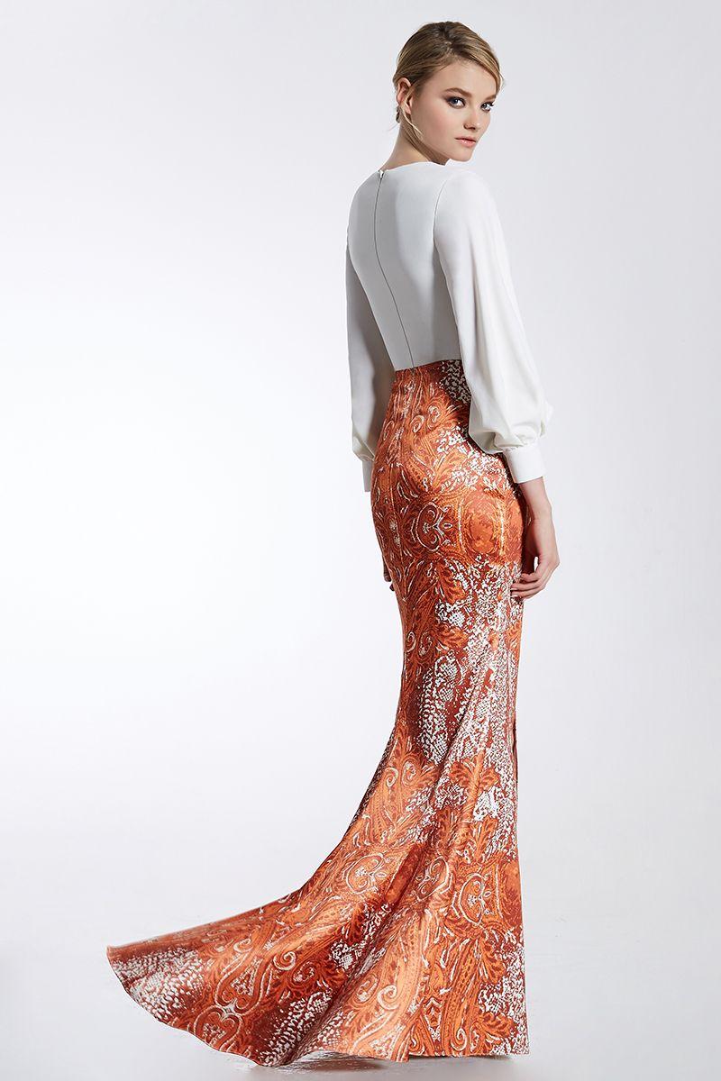 9fc44bec057e CONIEFOX 31966 Orange Luxury V-neck prom dresses Ladies evening party dress  gown long Xmas dress robe de soiree vestido de festa