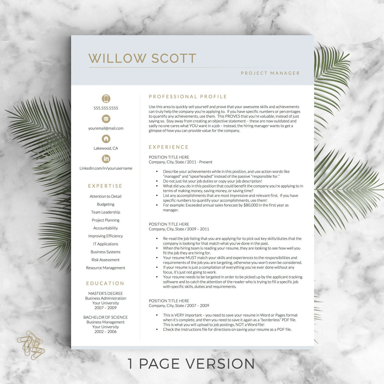 resume template for word and pages  modern cv template  resume design  resume template instant