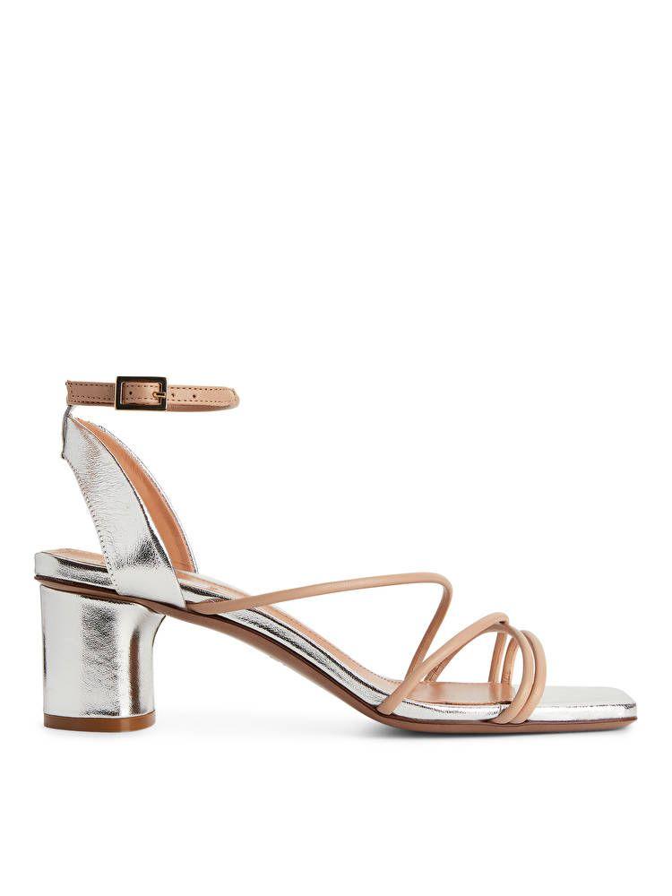 Chic Gold Chain  Braided Ankle Strap Block Heel Sandal Orange