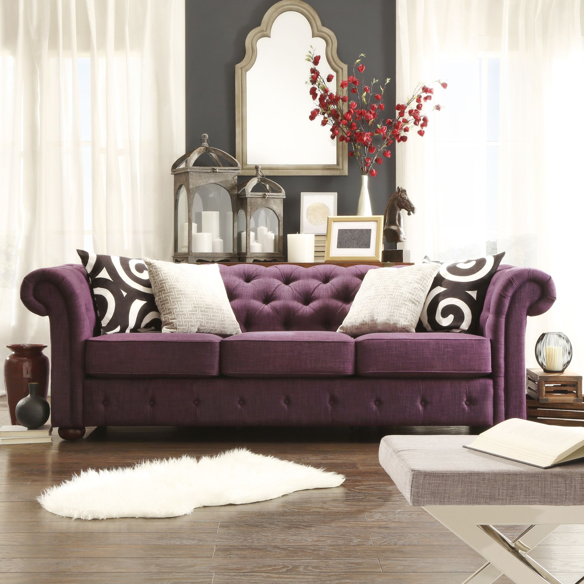 Kingstown Home Carthusia Tufted Button Sofa | AllModern. REALLY Digging  This Purple! $1,100