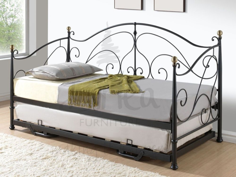 milano black metal day bed trundle with free delivery 10870 | de9eb508d1d03863719310d88abbeb9c