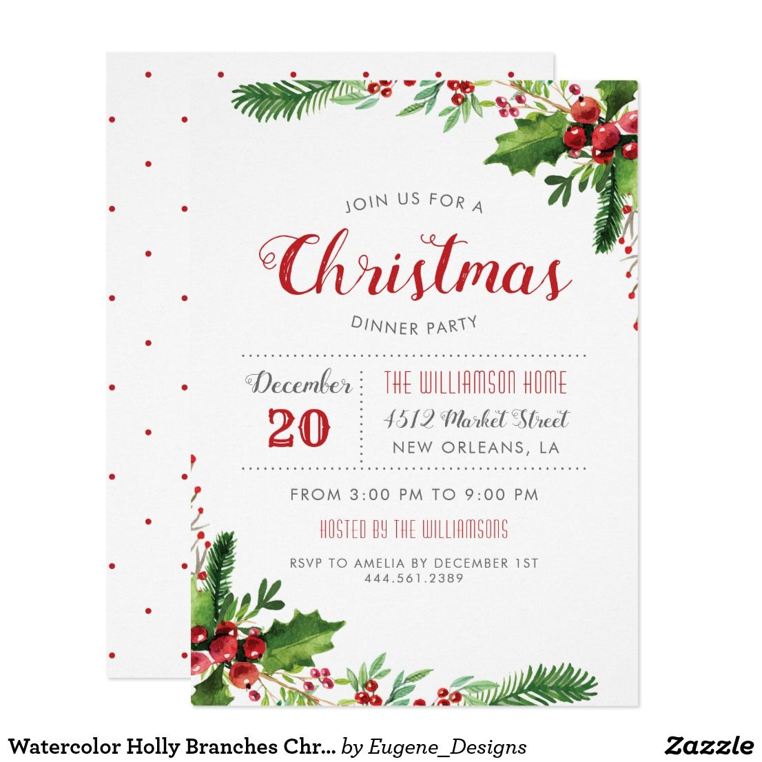 Watercolor Holly Branches Christmas Dinner Party Card | Christmas ...