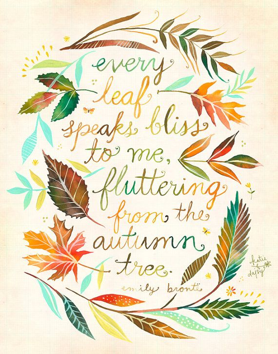 Every Leaf Print Fall Wall Art Watercolor Quote Etsy Fall Wall Art Watercolor Quote Autumn Quotes