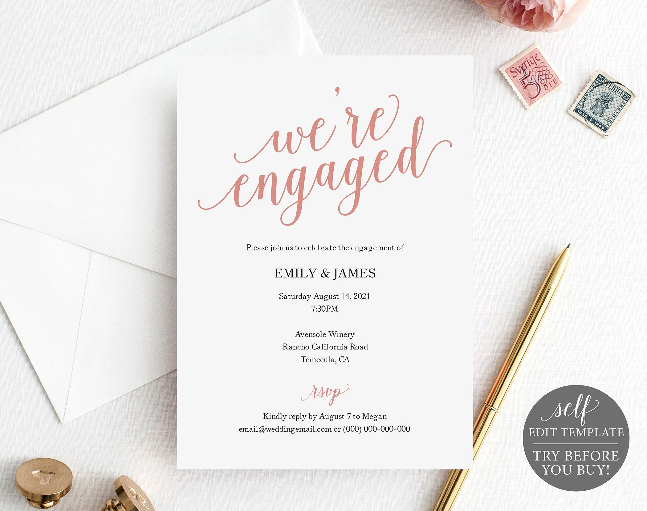 Engagement Party Invite Template, Rose Gold Script, TRY