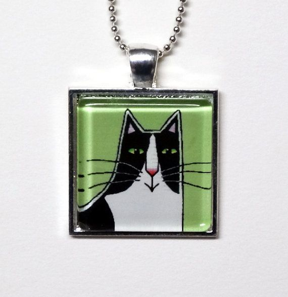 Cat jewelry sale tuxedo cat glass pendant in silvertone setting cat jewelry sale tuxedo cat glass pendant by susanfayepetprojects 1000 cat jewelry aloadofball Gallery