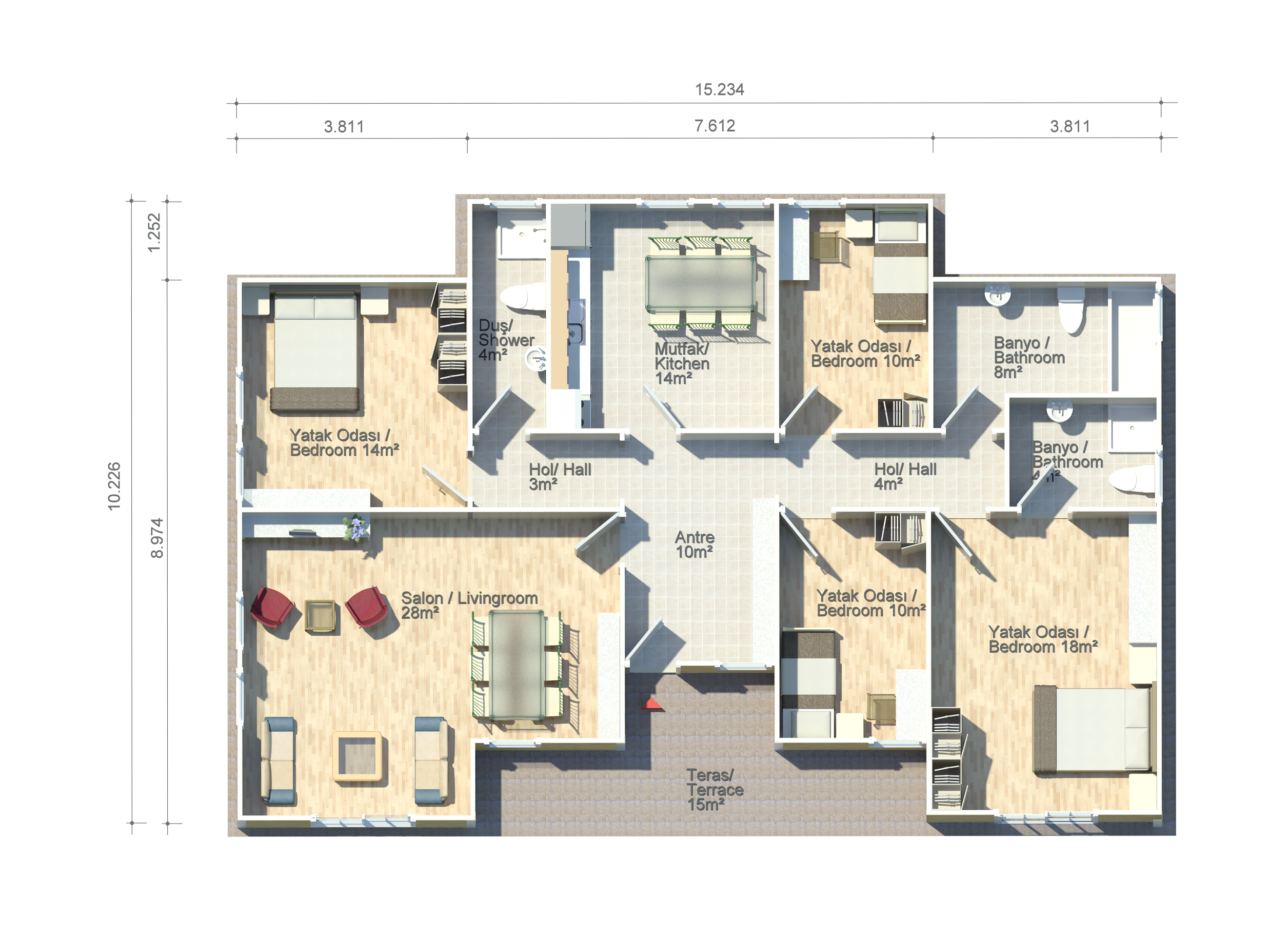 sardunya 134 m2 floor plan kit homes pinterest
