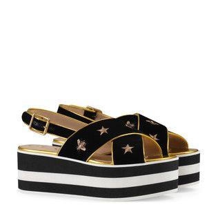Sandalias de terciopelo bordadas con plataforma Gucci floAJHnqFg