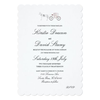 Wedding Invitation With Horse And Carriage Graphic Invitations Cards Custom Card Design Marriage