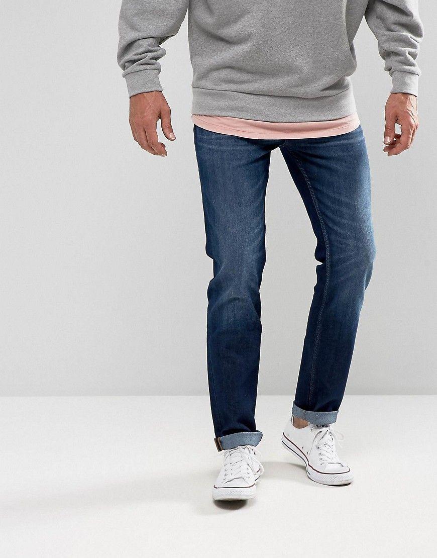 mid Blue Blue Lee Men/'s Jeans Rider Slim Fit
