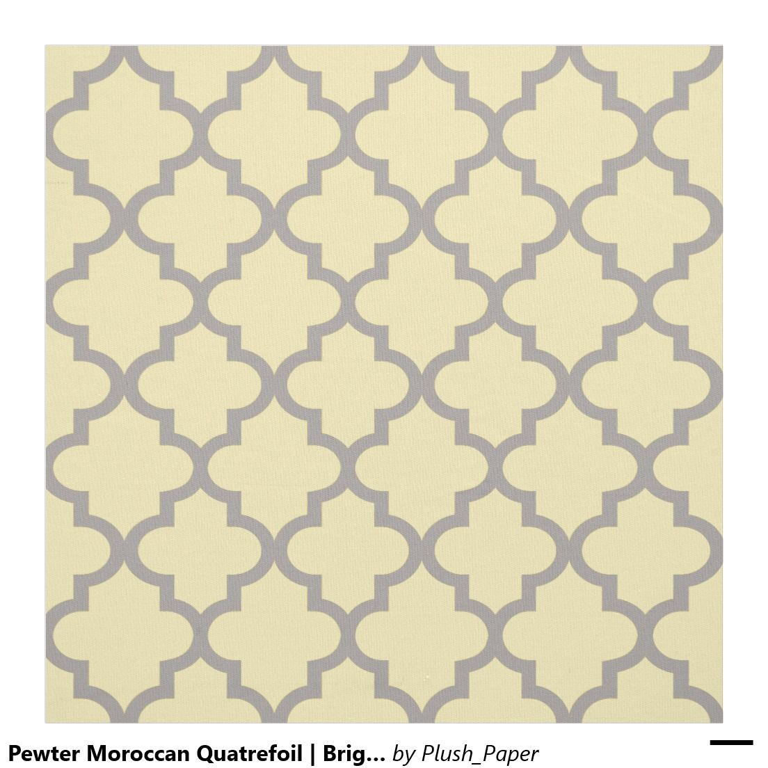 Pewter moroccan quatrefoil bright yellow pattern fabric