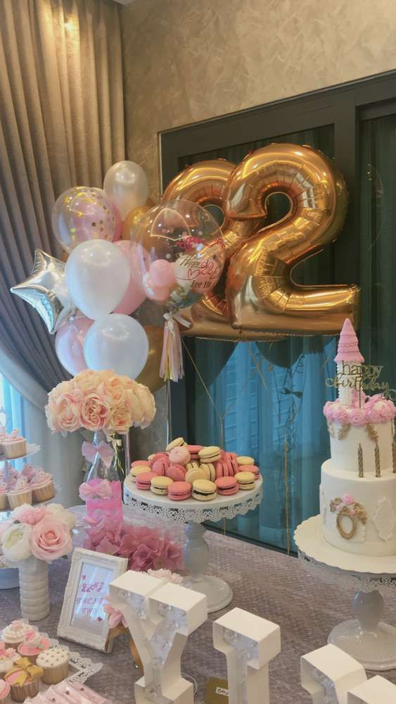 Pink White Gold Birthday Party Ideas Photo 1 Of 23 22 Birthday Decorations Birthday Decorations 22 Birthday Gifts