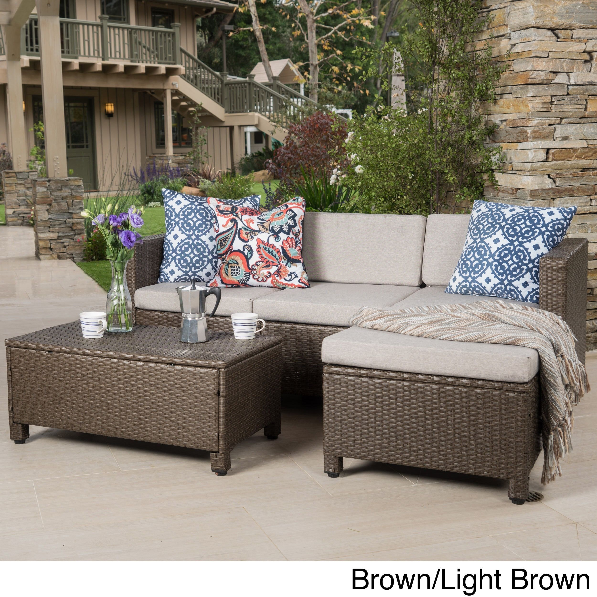Outdoor Puerta 5 Piece Wicker L Shaped Sectional Sofa Set With