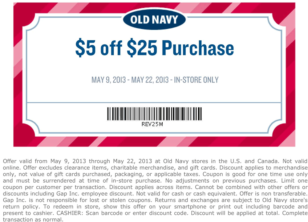 Pinned May 13th 5 Off 25 At Old Navy Coupon Via The Coupons App Old Navy Coupon Old Navy Printable Coupons