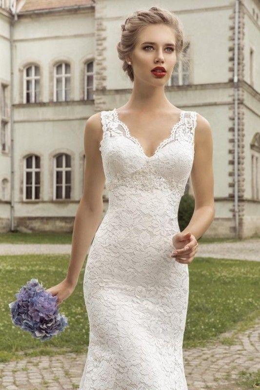 V Neck Sleeveless Lace Up Back Mermaid Wedding Dress Wedding